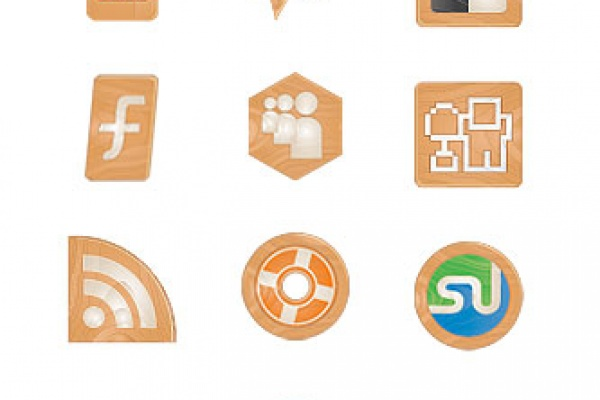 Social Media Icons Made of Wood